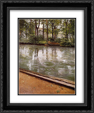 The Yerres, Rain 20x24 Black or Gold Ornate Framed and Double Matted Art Print by Gustave Caillebotte