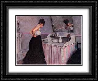 Woman at a Dressing Table 24x20 Black or Gold Ornate Framed and Double Matted Art Print by Gustave Caillebotte