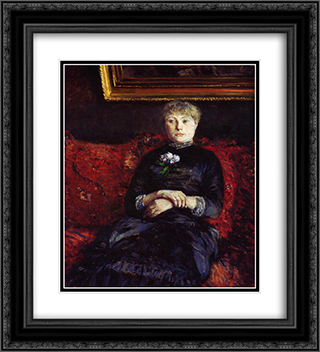 Woman Sitting on a Red'Flowered Sofa 20x22 Black or Gold Ornate Framed and Double Matted Art Print by Gustave Caillebotte