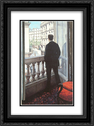A Young Man at His Window 18x24 Black or Gold Ornate Framed and Double Matted Art Print by Gustave Caillebotte