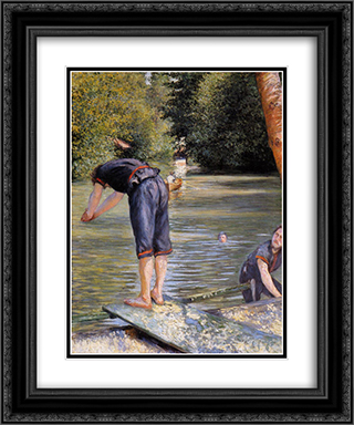 Bathers 20x24 Black or Gold Ornate Framed and Double Matted Art Print by Gustave Caillebotte