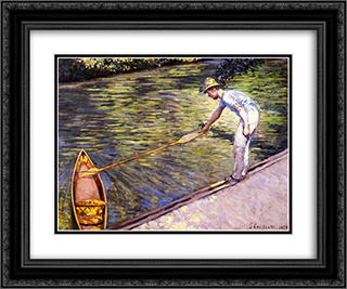 Boater Pulling on His Perissoire 24x20 Black or Gold Ornate Framed and Double Matted Art Print by Gustave Caillebotte