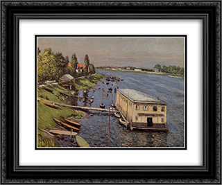 Boathouse in Argenteuil 24x20 Black or Gold Ornate Framed and Double Matted Art Print by Gustave Caillebotte