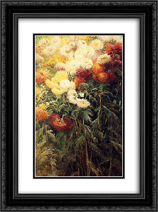 Chrysanthemums, Garden at Petit Gennevilliers 18x24 Black or Gold Ornate Framed and Double Matted Art Print by Gustave Caillebotte