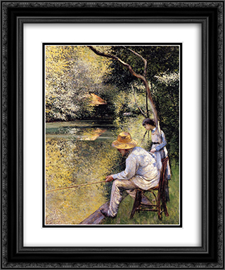 Fishing 20x24 Black or Gold Ornate Framed and Double Matted Art Print by Gustave Caillebotte