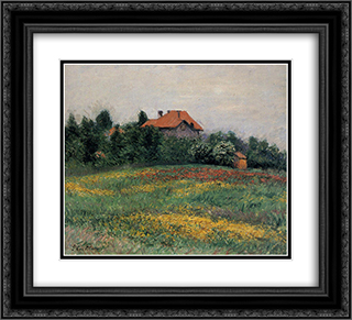 Norman Landscape 22x20 Black or Gold Ornate Framed and Double Matted Art Print by Gustave Caillebotte