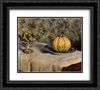 Melon and Bowl of Figs 22x20 Black or Gold Ornate Framed and Double Matted Art Print by Gustave Caillebotte