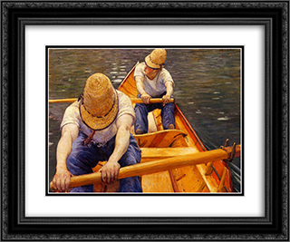 Oarsmen 24x20 Black or Gold Ornate Framed and Double Matted Art Print by Gustave Caillebotte