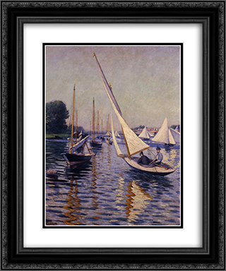 Regatta at Argenteuil 20x24 Black or Gold Ornate Framed and Double Matted Art Print by Gustave Caillebotte