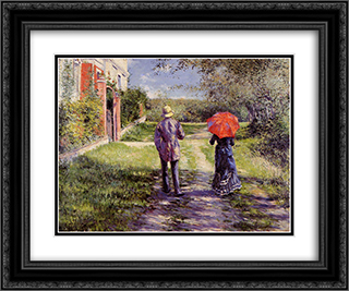 Rising Road 24x20 Black or Gold Ornate Framed and Double Matted Art Print by Gustave Caillebotte