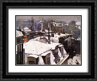 Rooftops Under Snow 24x20 Black or Gold Ornate Framed and Double Matted Art Print by Gustave Caillebotte