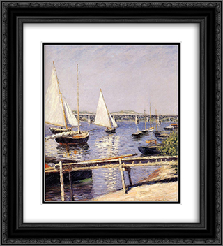 Sailing Boats at Argenteuil 20x22 Black or Gold Ornate Framed and Double Matted Art Print by Gustave Caillebotte