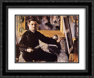 Self Portrait with Easel 24x20 Black or Gold Ornate Framed and Double Matted Art Print by Gustave Caillebotte