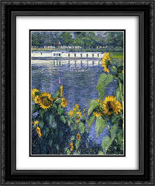 Sunflowers on the Banks of the Seine 20x24 Black or Gold Ornate Framed and Double Matted Art Print by Gustave Caillebotte
