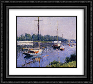 The Basin at Argenteuil 22x20 Black or Gold Ornate Framed and Double Matted Art Print by Gustave Caillebotte