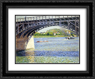 The Argenteuil Bridge and the Seine 24x20 Black or Gold Ornate Framed and Double Matted Art Print by Gustave Caillebotte