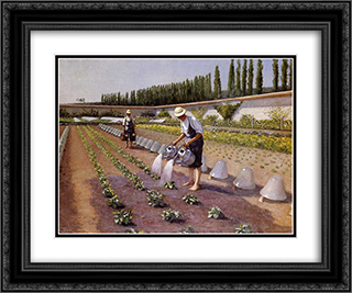 The Gardeners 24x20 Black or Gold Ornate Framed and Double Matted Art Print by Gustave Caillebotte