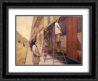The House Painters 24x20 Black or Gold Ornate Framed and Double Matted Art Print by Gustave Caillebotte
