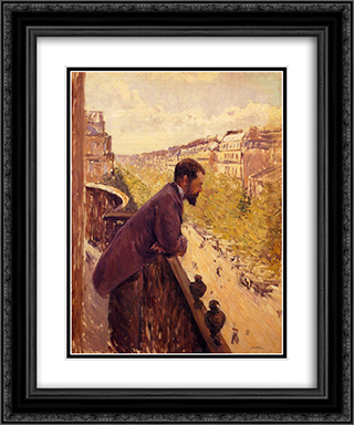 The Man on the Balcony 20x24 Black or Gold Ornate Framed and Double Matted Art Print by Gustave Caillebotte