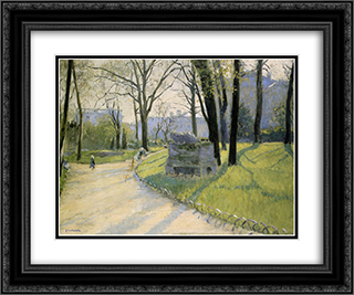 The Parc Monceau 24x20 Black or Gold Ornate Framed and Double Matted Art Print by Gustave Caillebotte
