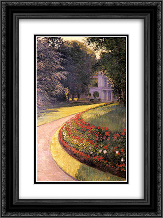 The Park at Yerres 18x24 Black or Gold Ornate Framed and Double Matted Art Print by Gustave Caillebotte