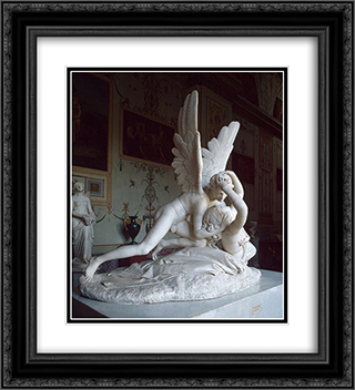 Cupid and Psyche 20x22 Black or Gold Ornate Framed and Double Matted Art Print by Antonio Canova