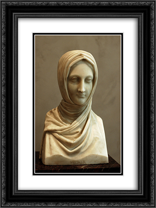 Bust of a Vestal Virgin 18x24 Black or Gold Ornate Framed and Double Matted Art Print by Antonio Canova