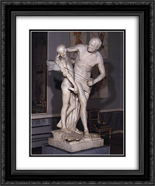 Daedalus and Icarus 20x24 Black or Gold Ornate Framed and Double Matted Art Print by Antonio Canova