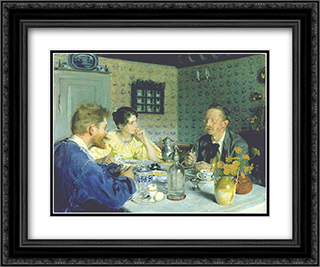 Almuerzo con Otto Benzon 24x20 Black or Gold Ornate Framed and Double Matted Art Print by Peder Severin Kroyer