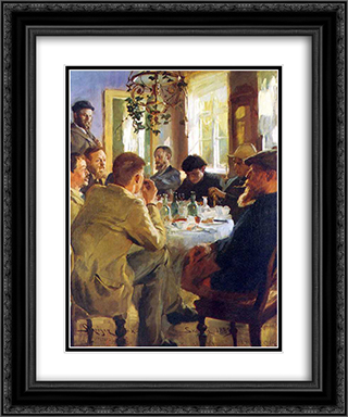 Almuerzo con pintores de Skagen 20x24 Black or Gold Ornate Framed and Double Matted Art Print by Peder Severin Kroyer