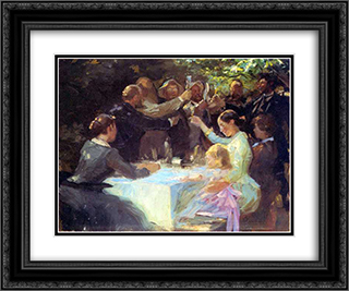 Study for Hip, hip hurra! 24x20 Black or Gold Ornate Framed and Double Matted Art Print by Peder Severin Kroyer