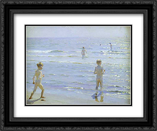 Bano de muchachos 24x20 Black or Gold Ornate Framed and Double Matted Art Print by Peder Severin Kroyer