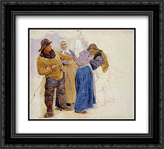 Mujeres y pescadores de Hornbaek 22x20 Black or Gold Ornate Framed and Double Matted Art Print by Peder Severin Kroyer