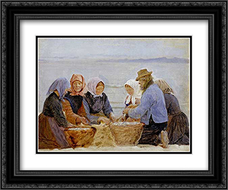 Mujeres y pescadores de Hornbaek 24x20 Black or Gold Ornate Framed and Double Matted Art Print by Peder Severin Kroyer