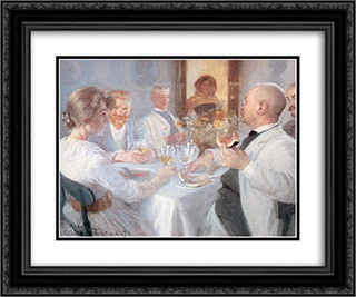 Comida en Antino 24x20 Black or Gold Ornate Framed and Double Matted Art Print by Peder Severin Kroyer