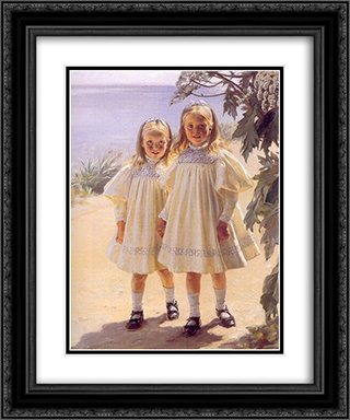 Hermanas Bentzon 20x24 Black or Gold Ornate Framed and Double Matted Art Print by Peder Severin Kroyer