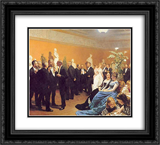 Encuentro en el museo 22x20 Black or Gold Ornate Framed and Double Matted Art Print by Peder Severin Kroyer