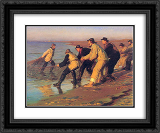 Pescadores en la playa 24x20 Black or Gold Ornate Framed and Double Matted Art Print by Peder Severin Kroyer