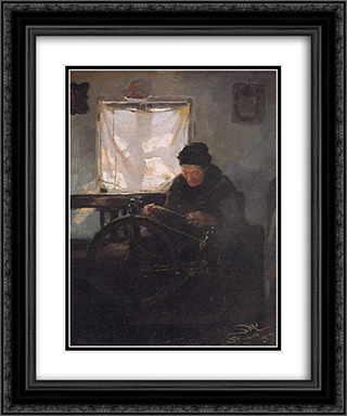 Anciana en la rueca 20x24 Black or Gold Ornate Framed and Double Matted Art Print by Peder Severin Kroyer