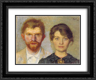 Retrato del matrimonio 24x20 Black or Gold Ornate Framed and Double Matted Art Print by Peder Severin Kroyer