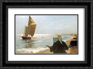 Pintores en la playa 24x18 Black or Gold Ornate Framed and Double Matted Art Print by Peder Severin Kroyer