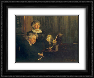 Nina y Edvard Grieg 24x20 Black or Gold Ornate Framed and Double Matted Art Print by Peder Severin Kroyer