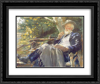Holger Drachman 24x20 Black or Gold Ornate Framed and Double Matted Art Print by Peder Severin Kroyer