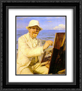 Autorretrato del pintor 20x22 Black or Gold Ornate Framed and Double Matted Art Print by Peder Severin Kroyer
