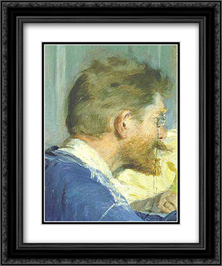 Autorretrato del pintor 20x24 Black or Gold Ornate Framed and Double Matted Art Print by Peder Severin Kroyer