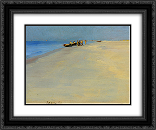 Fiskere Pa Skagens Strand 24x20 Black or Gold Ornate Framed and Double Matted Art Print by Peder Severin Kroyer