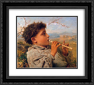 Shepherd Piper 22x20 Black or Gold Ornate Framed and Double Matted Art Print by Sophie Gengembre Anderson