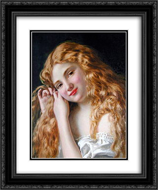 Young Girl Fixing Her Hair 20x24 Black or Gold Ornate Framed and Double Matted Art Print by Sophie Gengembre Anderson