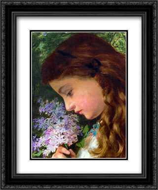 Girl With Lilac 20x24 Black or Gold Ornate Framed and Double Matted Art Print by Sophie Gengembre Anderson