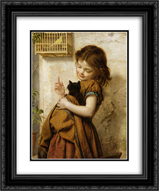Her Favorite Pets 20x24 Black or Gold Ornate Framed and Double Matted Art Print by Sophie Gengembre Anderson